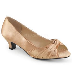 Shoes - Low High Heel Peep Toe Shoes Satin Size 9-16 Blush